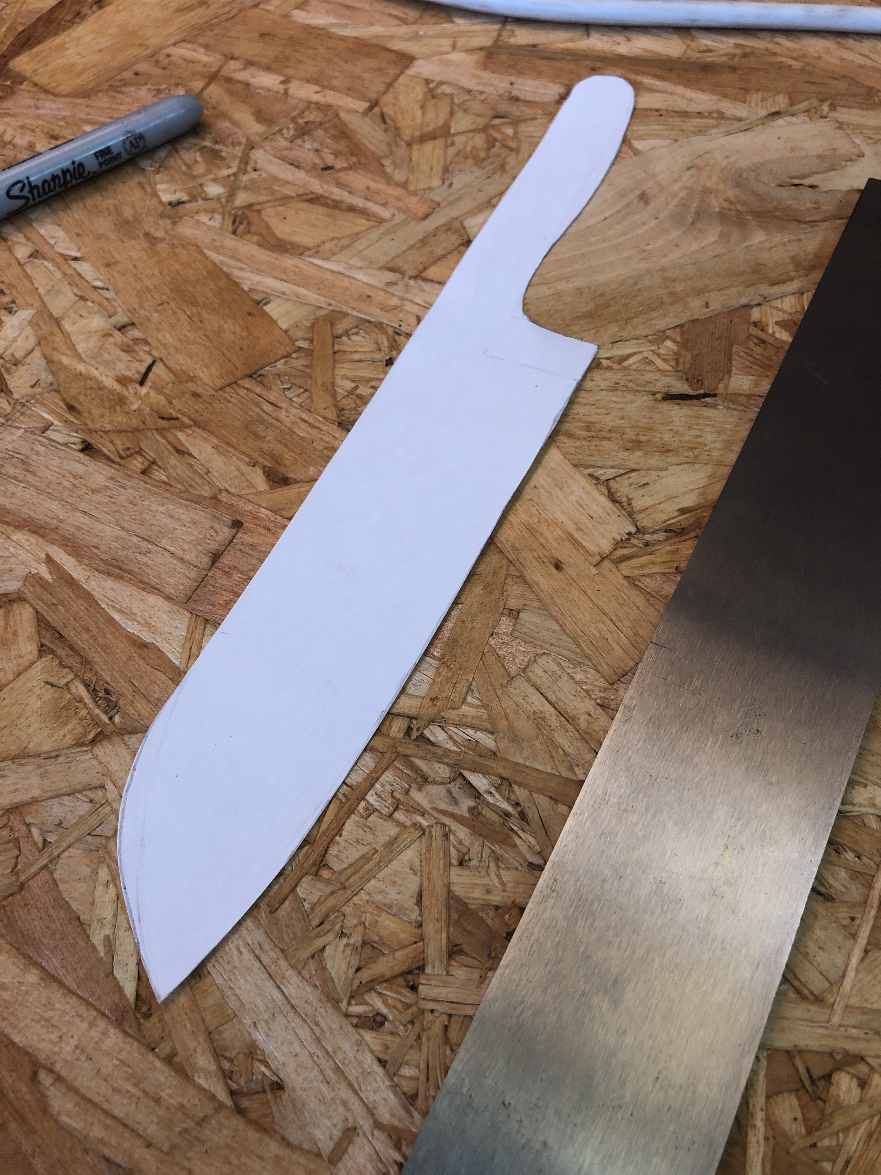 paper template of the knife shape